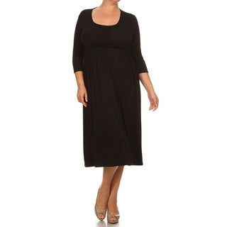 MOA Collection Women's Plus Size Mid-length Solid Dress