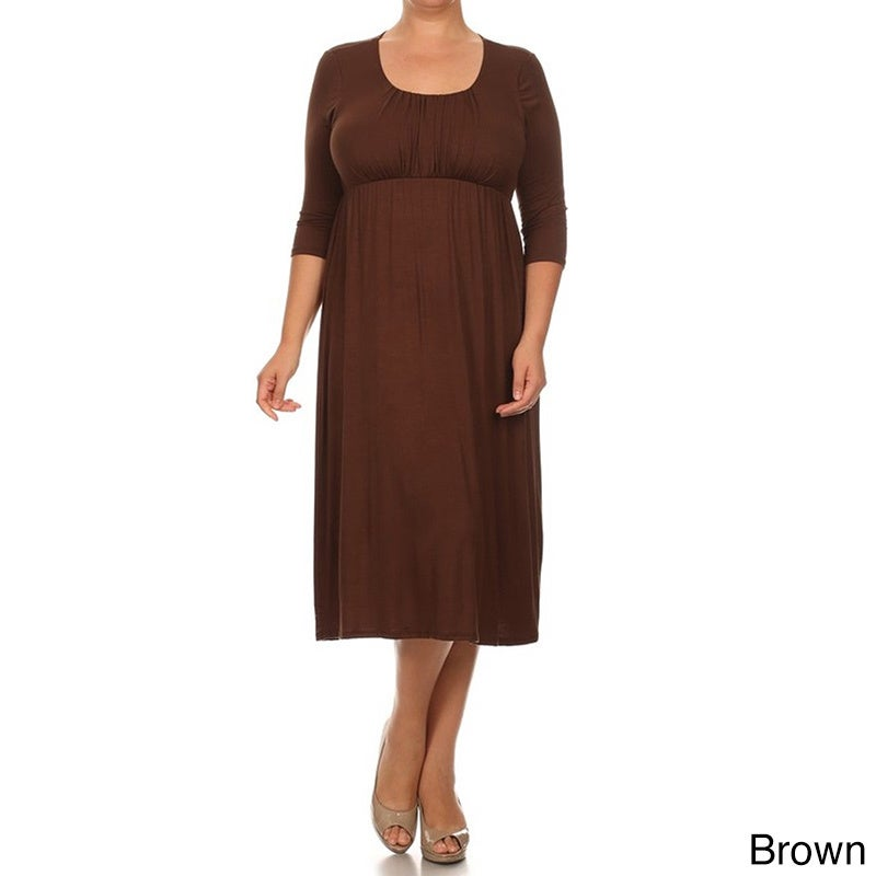 MOA Collection Women\'s Plus Size Mid-length Solid Dress