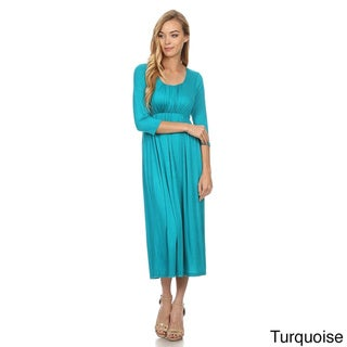 MOA Collection Women's Rayon/Spandex Solid Relaxed Dress
