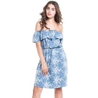 MOA Collection Women's Floral Denim Ruffle Dress