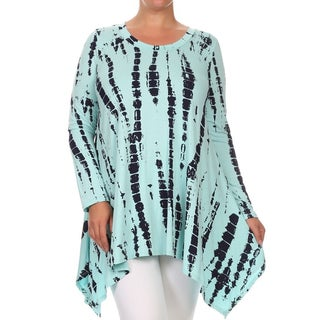 MOA Collection Women's Blue, Brown Rayon, Spandex Plus Size Tie Dye Tunic Top