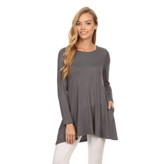MOA Collection Women's Grey Rayon/Spandex Relaxed Long-sleeve Tunic Top