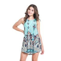 MOA Collection Women's Blue Polyester/Spandex Paisley Sleeveless Tank Top