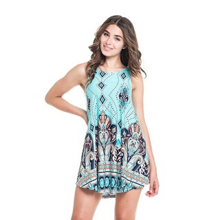 MOA Collection Women's Blue Polyester/Spandex Paisley Sleeveless Tank Top