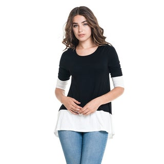 MOA Collection Women's Black Rayon and Spandex Color Block Tunic