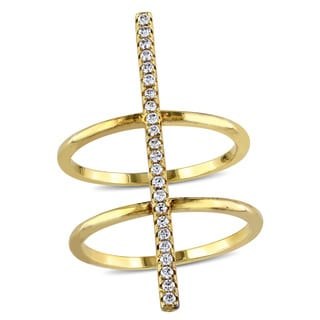 Miadora Yellow Plated Sterling Silver Cubic Zircona Double Band Bar Ring