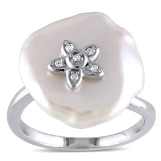 Miadora Sterling Silver White Keishi Pearl and Diamond Accent Flower Ring (16-16.5 mm)