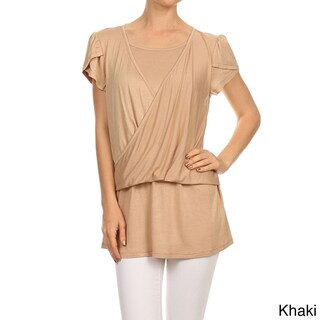 MOA Collection Women's Solid Tulip Double Layer Top (Option: KHAKI-SMALL)