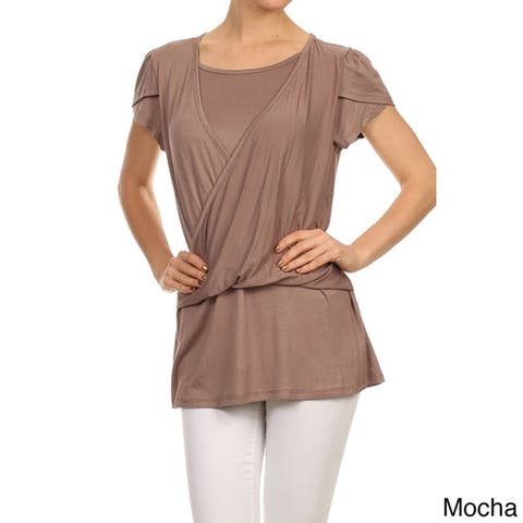 MOA Collection Women's Solid Tulip Double Layer Top