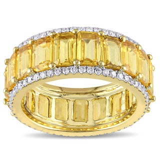 Miadora Signature Collection 14k Yellow Gold Emerald-Cut Yellow Sapphire and 5/8ct TDW Diamond Eternity Band (G-H, SI1-SI2)