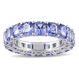 Miadora Signature Collection 14k White Gold Octagon Shaped Blue Sapphire Eternity Band