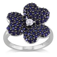 Miadora Sterling Silver Created Blue and Created White Sapphire Flower Ring