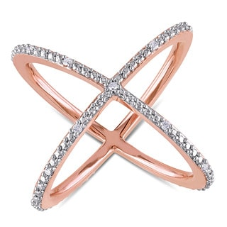 Miadora Rose Plated Sterling Silver 1/10ct TDW Diamond Criss-Cross Ring
