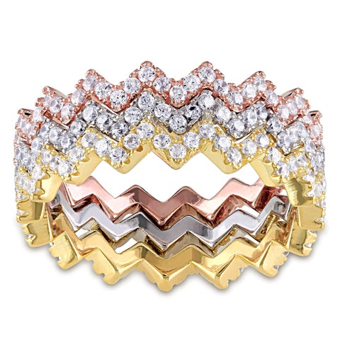 Miadora Sterling Silver Three-Toned Cubic Zircona Stacking Ring Set - White