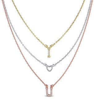 Miadora Sterling Silver Three-Toned Cubic Zircona 'I Love You' Tiered Necklace