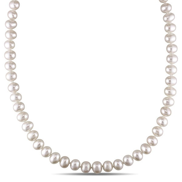 Miadora 14k Yellow Gold Freshwater Cultured Pearl Strand Necklace (6-7 mm) - White