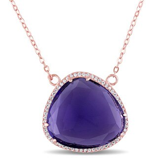 Miadora Rose Plated Silver Synthetic Amethyst and White Topaz Necklace