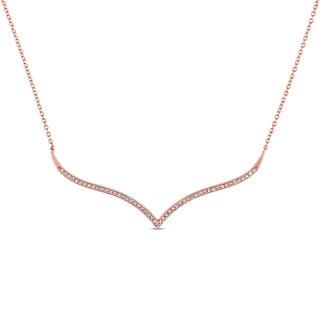 Miadora 14k Rose Gold 1/6ct TDW Diamond Chevron Necklace (G-H, SI1-SI2)