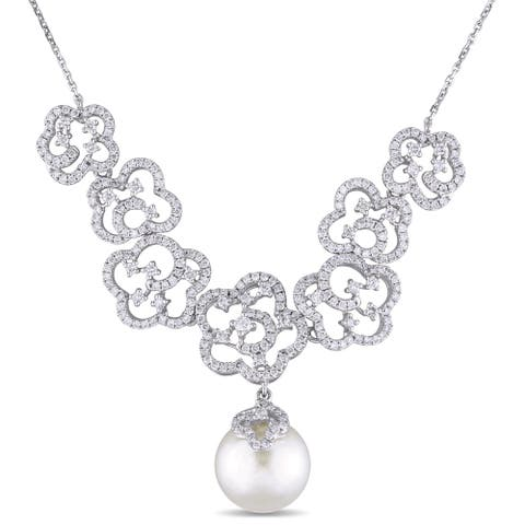 Miadora 14k White Gold South Sea Pearl and 1 3/4ct TDW Diamond Floral Necklace (G-H, SI1-SI2) (11-11.5 mm)