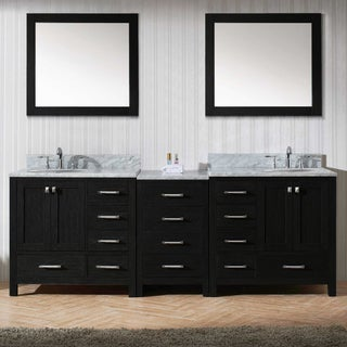 Virtu USA Caroline Avenue 90-inch Double Bathroom Vanity Set in Zebra Grey