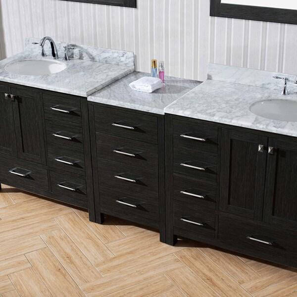 Virtu USA Caroline Avenue 90 Inch Double Bathroom Vanity Set In Zebra Grey    Free Shipping Today   Overstock.com   18992265