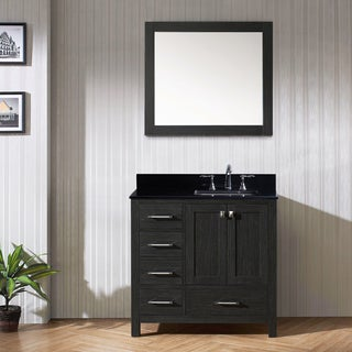 Virtu USA Caroline Avenue 36-inch Double Bathroom Vanity Set in Zebra Grey