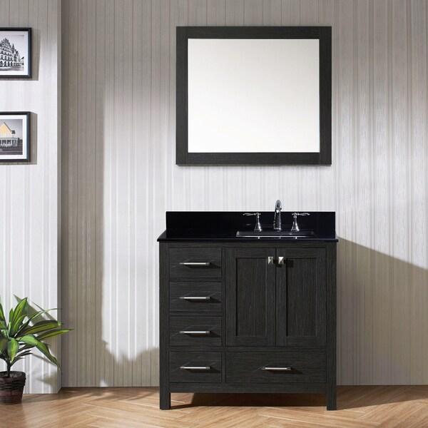 Virtu USA Caroline Avenue 36 Inch Double Bathroom Vanity Set In Zebra Grey