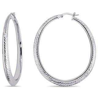 Miadora 14k White Gold Classic Hoop Earrings