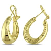 Miadora 14k Yellow Gold Vintage Rounded Hoop Earrings