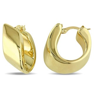 Miadora 14k Yellow Gold Abstract Hoop Earrings