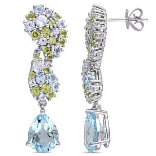 Miadora Signature Collection 14k White Gold Blue Topaz and Peridot Dangle Earrings