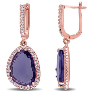 Miadora Rose Plated Sterling Silver Synthetic Amethyst and White Topaz Halo Earrings