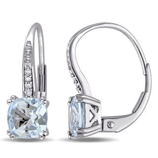 Miadora 10k White Gold Aquamarine and Diamond Accent Leverback Earrings