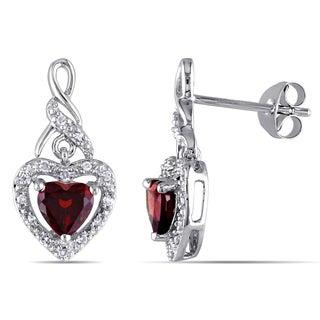 Miadora Sterling Silver 1/8ct TDW Diamond and Garnet Heart Earrings (G-H, I2-I3)