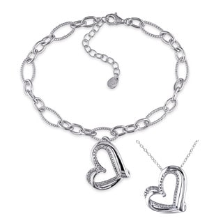 Miadora Sterling Silver Diamond Accent Heart Charm Necklace and Bracelet Set