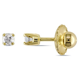 Miadora 14k Yellow Gold 1/10ct TDW Diamond Baby Studs (I-J, I2-I3)