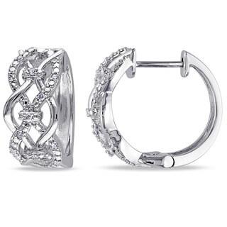 Miadora Sterling Silver 1/10ct TDW Diamond Infinity Hoop Earrings