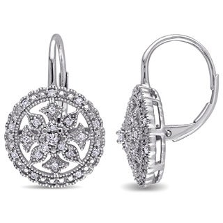 Miadora 10k White Gold 1/4ct TDW Diamond Vintage Halo Leverback Earrings (G-H, I2-I3)