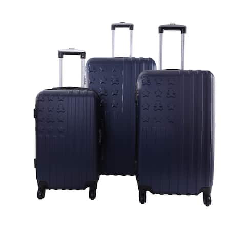 Lulu Castagnette Navy 3-piece Hardside Spinner Luggage Set
