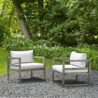 Real Flame Monaco Brushed Antique White Fabric/ Aluminum 31.5 in. L x 29 in. W x 25.75 in. H Outdoor Chairs (Set of 2)