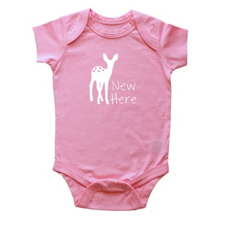 Rocket Bug New Here Deer Baby Bodysuit