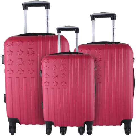 Lulu Castagnette Magenta 3-piece Hardside Spinner Luggage Set