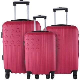 Lulu Castagnette Purple 3-piece Hardside Spinner Luggage Set