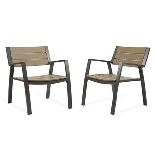 Real Flame Anson Grey Aluminum 28 in. L x 27.9 in. W x 32 in. H Casual Chairs (Set of 2)