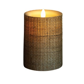 "Torchier 3.5""x5"" Ivory In Burlap Flameless Wax Pillar Candle"