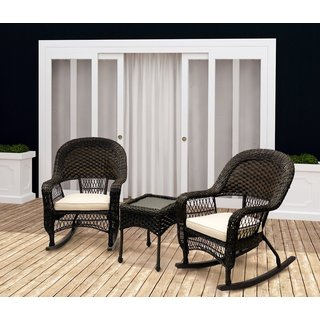 Traditional Patio Furniture 3-piece Outdoor Rocking Chair Set