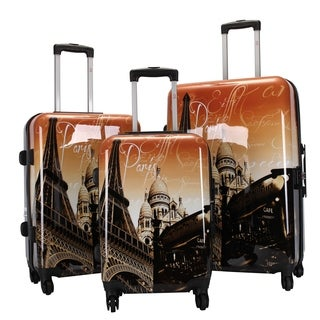 Oh La La Paris Eiffel Tower 3-piece Hardside Spinner Luggage Set