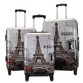 Oh La La Paris' Eiffel Tower 3-piece Hardsided Spinner Super Lightweight Luggage Set