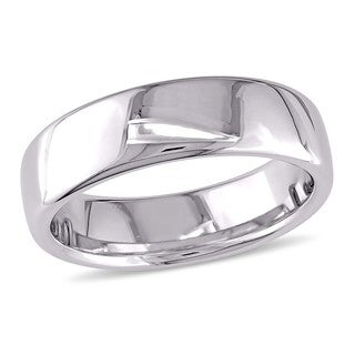 Miadora Men's 14k White Gold Comfort Fit Wedding Band