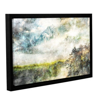 Roozbeh Bahramali's 'Stream By The Mountains' Gallery Wrapped Floater-framed Canvas